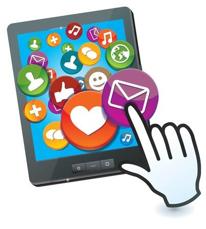 smartphone mano: Tablet PC con icone social media e del cursore a mano Vettoriali