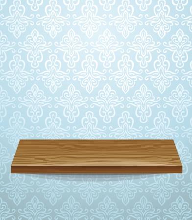 �tag�re bois: �tag�re en bois sur le mur belle - illustration vectorielle Illustration