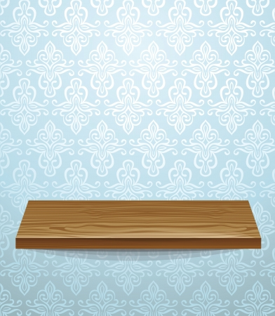 wooden shelf on beautiful wall - vector illustration Stock Vector - 16595618