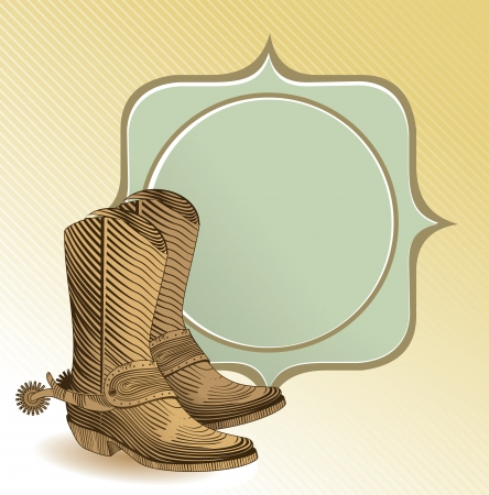 cowboy boots in engraving style - vector illustration Vector
