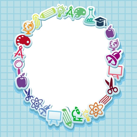 subjects: Back to school - vector card with icons