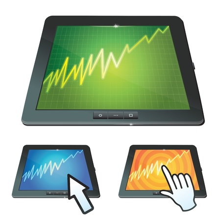set of tablet pc with graph on screen Stock Vector - 16595586