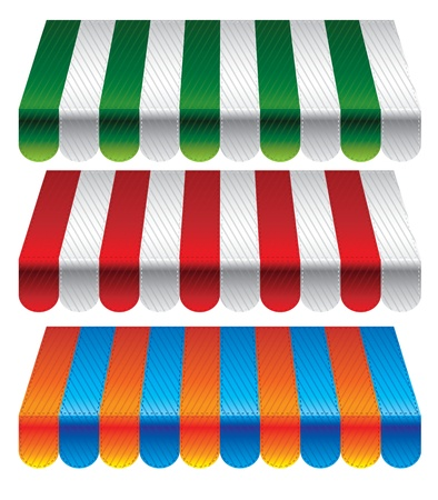 awnings: set of striped awnings for store - vector illustration