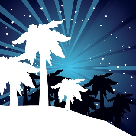 summer night with palm trees Vector