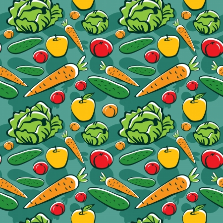 seamless pattern with vegetables and fruits - vector illustration Vector
