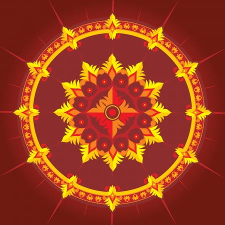 ethnic  pattern in red color Stock Vector - 16595670