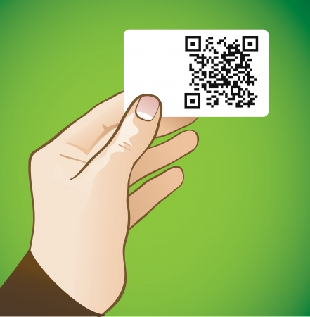hand holding card: hand die kaart met qr-code - vector illustratie