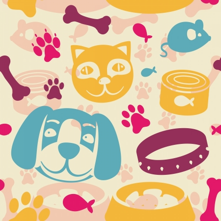 puppy and kitten: bright seamless pattern with funny cat and dog - vector illustration