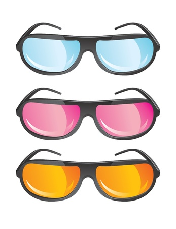 vector glasses in different colors Vector