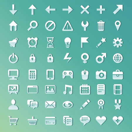 global settings: Vector set with internet and technology icons - bright signs and symbols