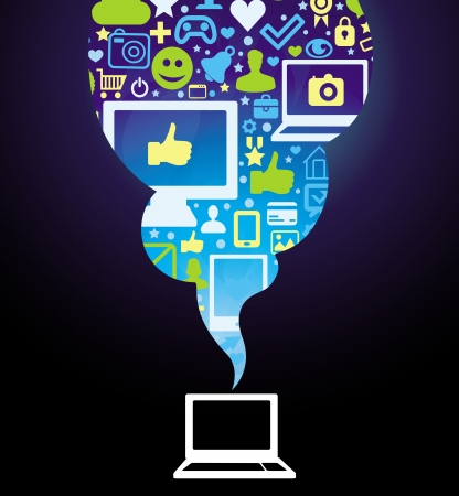 microblogging: Vector social media concept - with laptop and icons Illustration