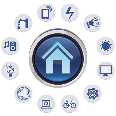 Vector elegante casa concepto - conjunto de iconos y signos de aplicaciones Ilustración de vector