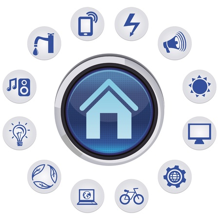 mobile home: Vector smart house concept - set with icons and app  signs