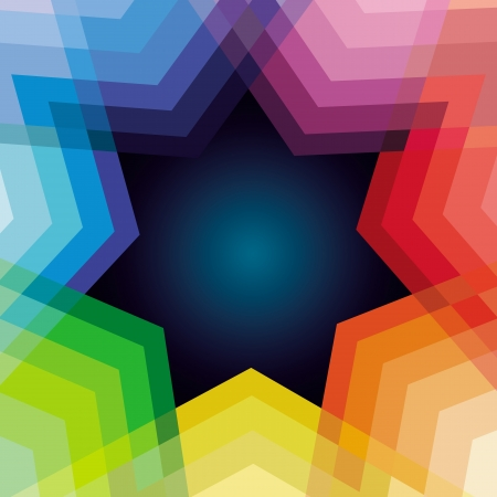 heptagon: Vector abstract background with rainbow and star - copy space for text Illustration