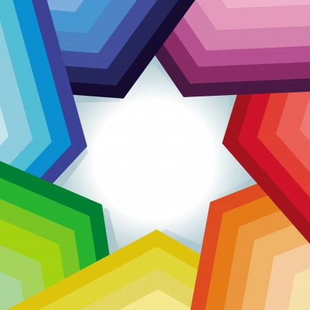 rainbow vector: Vector abstract background with rainbow and star - copy space for text Illustration