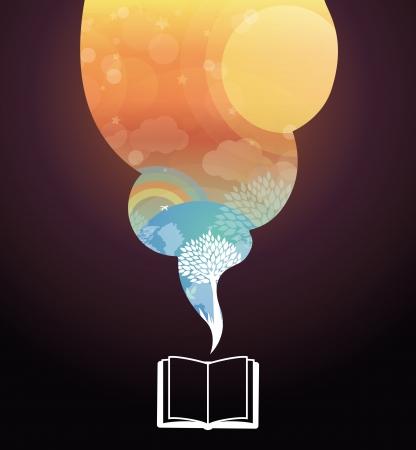 imaginacion: Concepto Vector lectura - libro y la ilustraci�n brillante de cuento de hadas Vectores