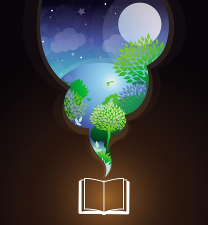 Vector reading concept - book and bright illustration with fairy tale