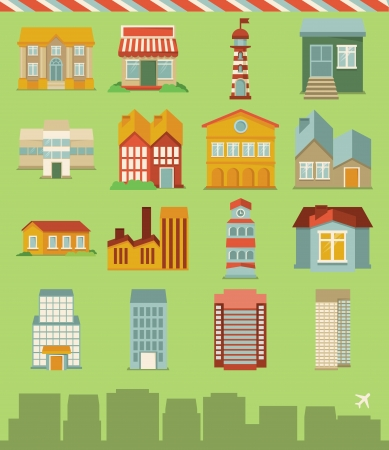buildings icons - map elements in retro style Stock Vector - 17718418