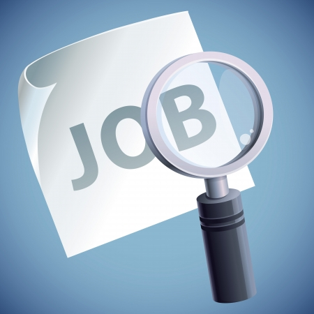 job hunting: concept with magnifying glass icon - job search