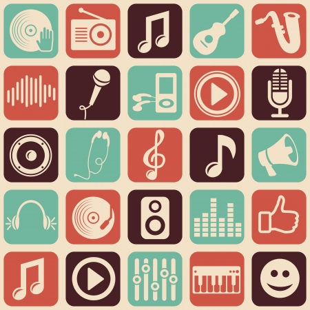vinyl disk player: music seamless pattern with icons Illustration