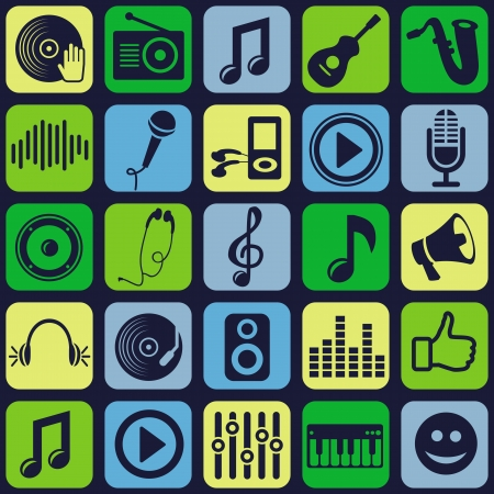 record player: music seamless pattern with icons Illustration