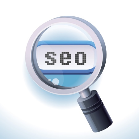 Search engine opSearch engine optimization concept - magnifying glass icon and text  SEO Stock Vector - 17718497
