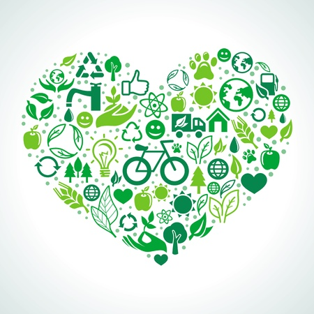 ecology concept - heart design element made from icons and signs Illustration
