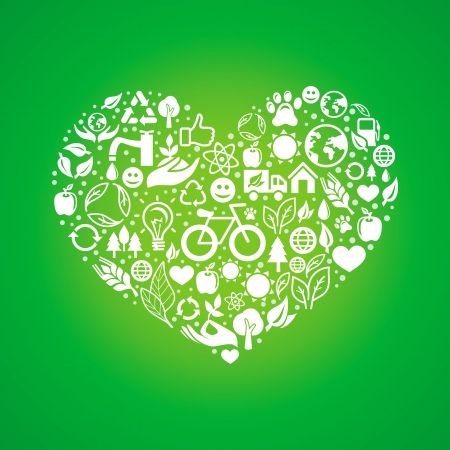 earth friendly: ecology concept - heart design element made from icons and signs Illustration