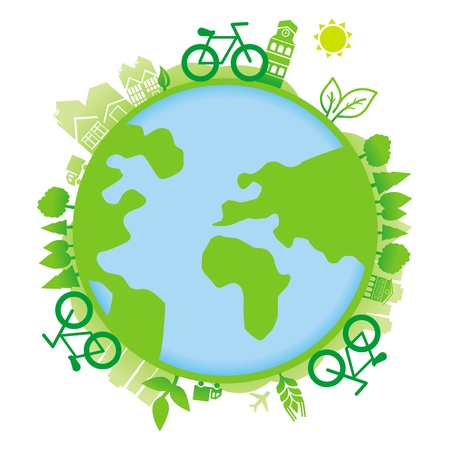 ecology concept - planet with icons and bicycles Stock Vector - 17716319