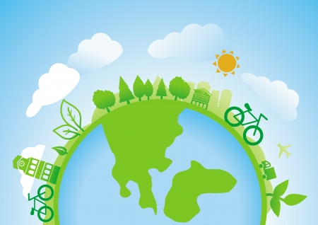 ecology concept - planet with icons and bicycles Vector