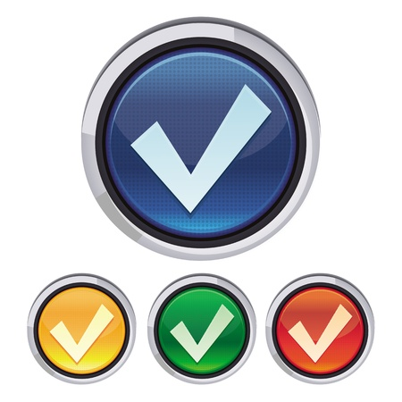 round button with tick sign - choice concept Vector