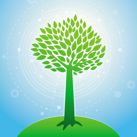 growth concept - tree silhouette with blue background Stock Vector - 17718577