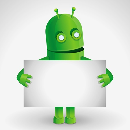 space robot: cartoon character - funny robot holding paper card with copy space for text
