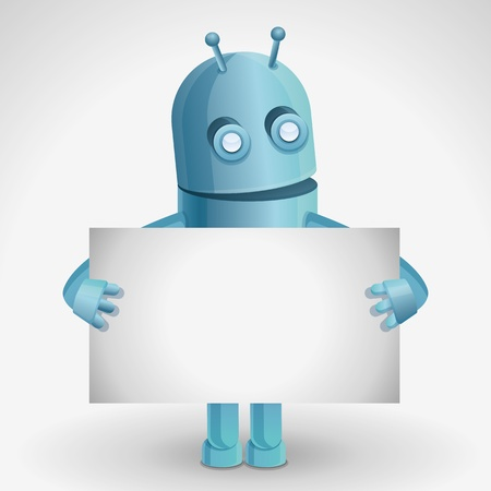 talking robot: cartoon character - funny robot holding paper card with copy space for text