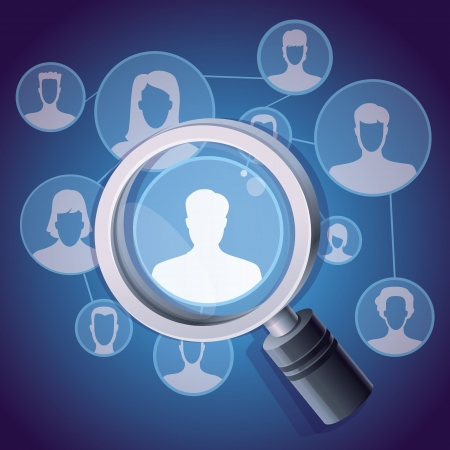 social media networking concept - magnifying glass and people icon Vector