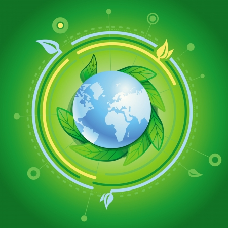 ecology concept - planet with green leaves Stock Vector - 17718574