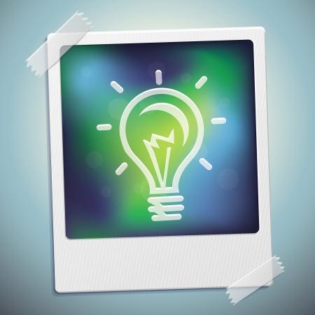 start up: light bulb icon on frame - start up concept