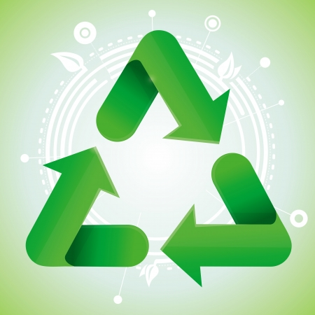 recycle sign: Vector ecology concept - recycle sign on green background Illustration