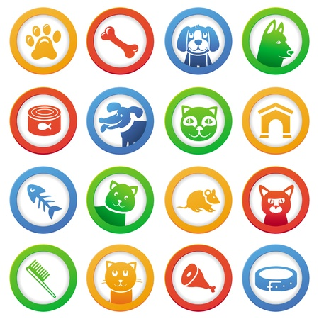 collection with funny cats and dogs in round labels Stock Vector - 17718599