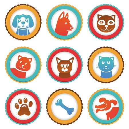 collection with funny cats and dogs in round labels Vector