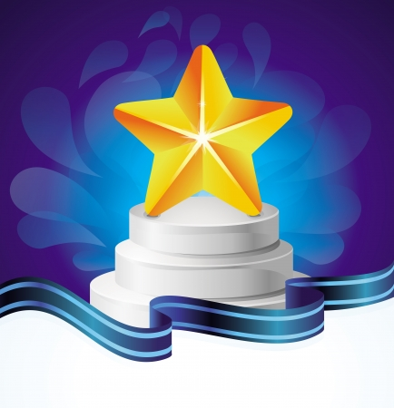 award concept - golden star and blue background Stock Vector - 17718626
