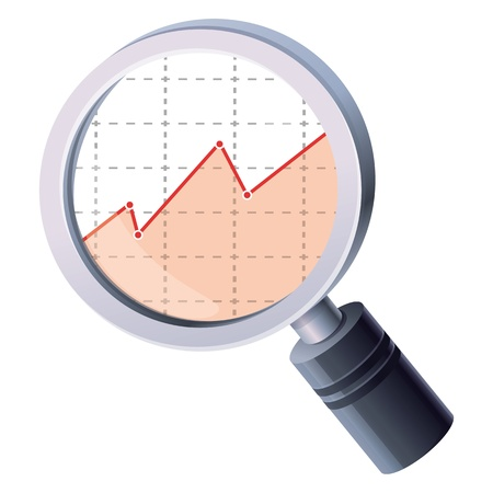 analytics concept - magnifing glass and graph Stock Vector - 17718624
