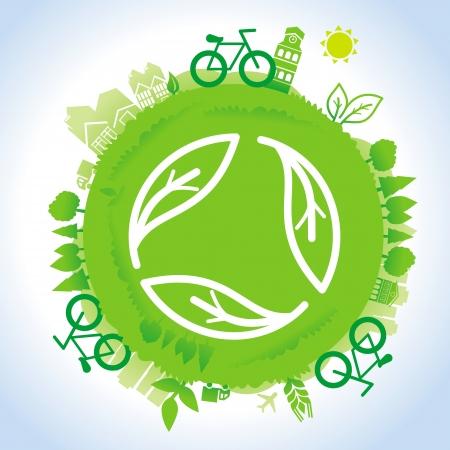 amor al planeta: concepto de la ecolog�a - planeta verde con signo de reciclaje Vectores