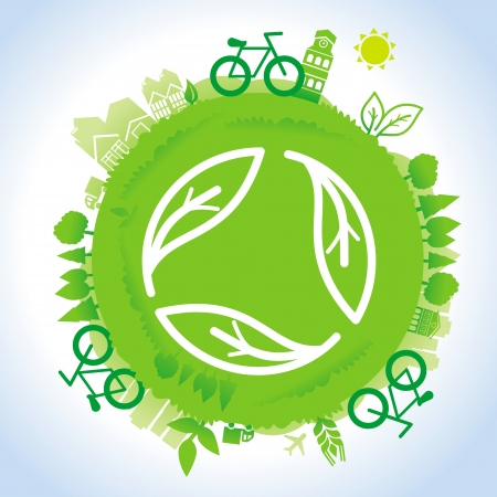 blue planet: ecology concept - planet with green recycle sign
