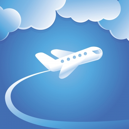 Vector concept with flying plane - abstract cartoon illustration Vector