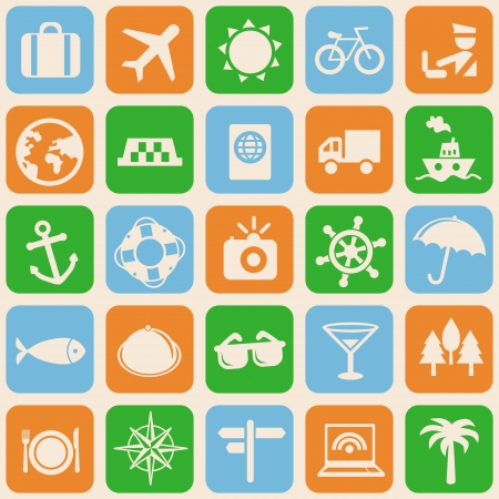 Vector seamless pattern with travel icons - vacation signs and symbols Vector