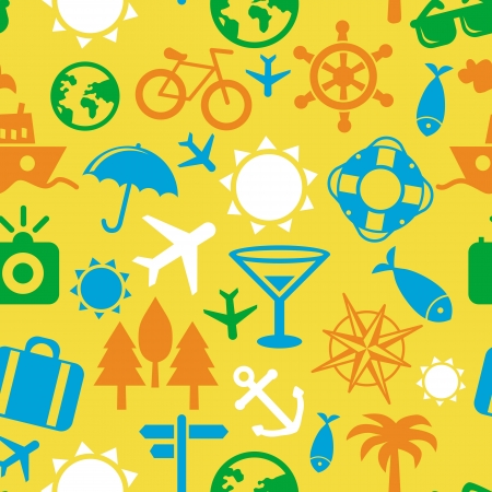 orange trees: Vector seamless pattern with travel icons - vacation signs and symbols