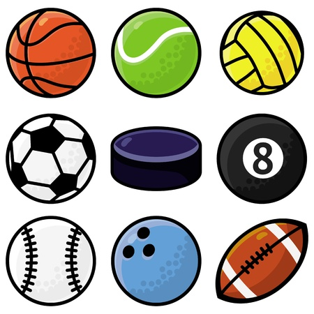 Vector set with sport balls - cartoon illustration Stock Vector - 18021900