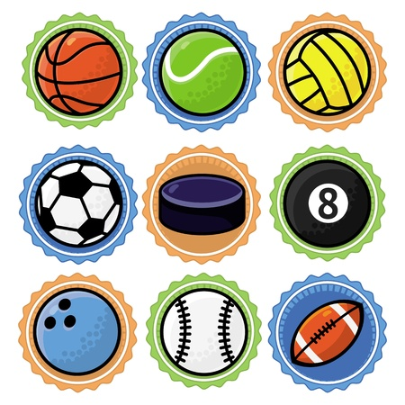 Vector set with sport balls - cartoon illustration Stock Vector - 18021917