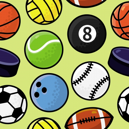 Vector seamless pattern with sport balls - abstract background Vector